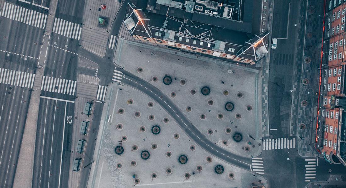 Luftfoto over et tomt København. Foto: Astrid Maria Busse Rasmussen